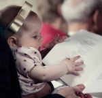 Baby reads the hymns @ Charlie & Rachel Ruggles-Brize's wedding