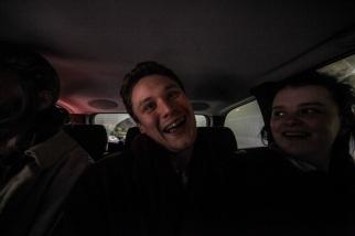 Alex Sebley, Joe Pancucci and Holly Whitaker share the back seat.