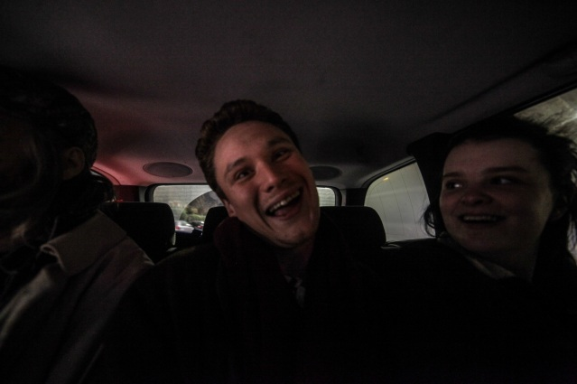 Alex Sebley, Joe Pancucci and Holly Whitaker share the back seat.