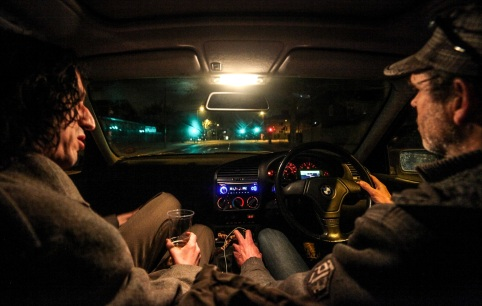 Lias Saoudi and Lou Smith driving in South London.